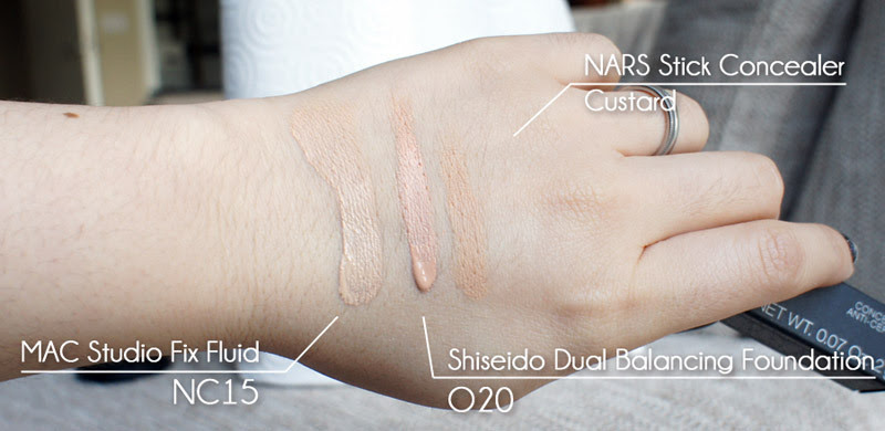 comparing MAC Studio Fix Fluid NC15 with Nars and Shiseido foundations
