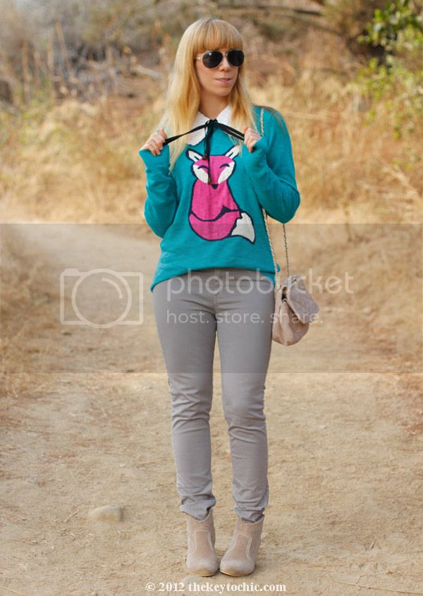 Mossimo fox sweater, Rag & Bone jeans, Wet Seal booties, Marni at H&M sequin collar, Los Angeles fashion blog