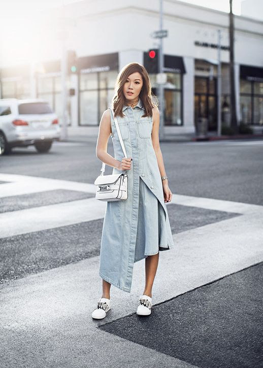 Le Fashion Blog Asymmetrical Denim Dress White Sneakers Spring Summer Blogger Via Tsangtastic