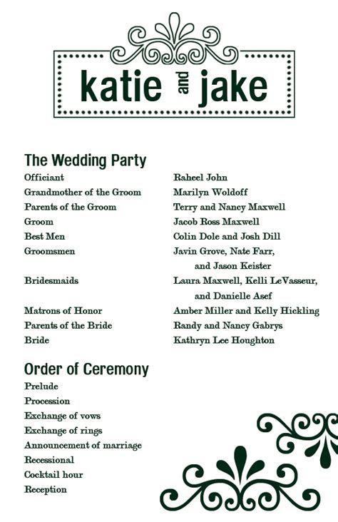 Custom Printables: Katie's Wedding Program