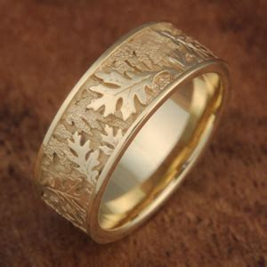 Oak Leaf Wedding Band