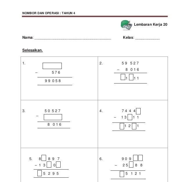 Soalan Matematik Tahun 4 Mengikut Topik Malacca G