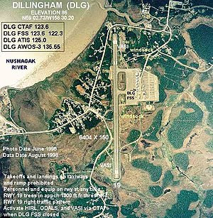Annotated aerial photograph of (FAA: DLG) in D...