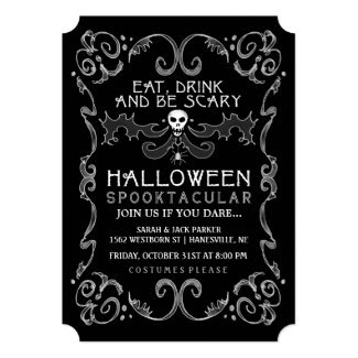 Halloween Black & White Party Invitation