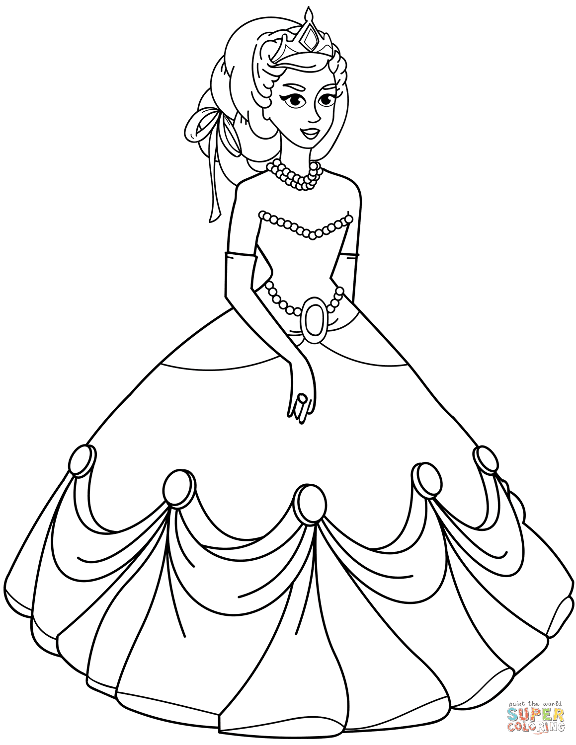 Princess in Ball Gown Dress coloring page | Free Printable ...