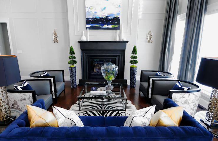 Blue Velvet Sofa - Contemporary - living room - Atmosphere