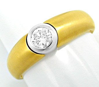 Original-Foto 1, BRILLANT-SOLITÄR-BAND-RING RIVER BICOLOR 18K LUXUS! NEU