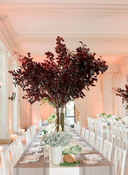 Tall Tree Centerpiece   Trees, Vase and Burgundy color