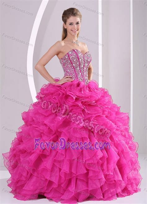 Fuchsia Sweetheart Dresses for Quinceanera with Beading