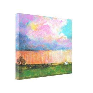 April Showers Decor Canvas Print From Original Art wrappedcanvas