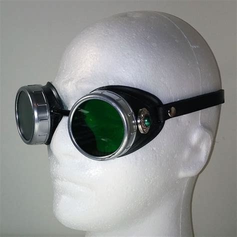 Green Pearl Goggles in Silver with Leather Strap