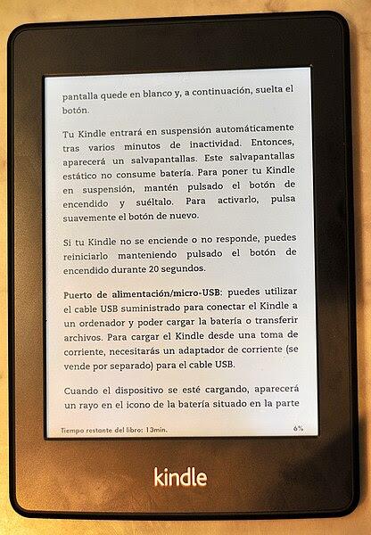 Lector de libros electrónicos Kindle