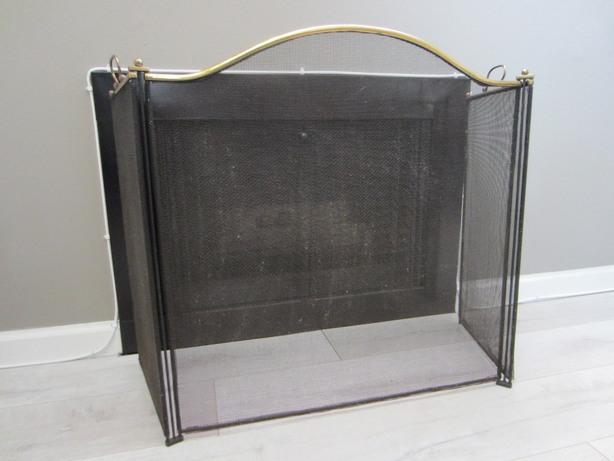 Mesh Fire Place Screen Folding Brass Frame Handles For Sale