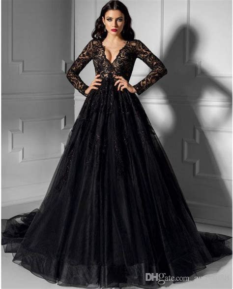 Elegant Black Lace Long Sleeve Wedding Dresses 2017 V Neck