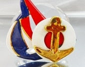 Vintage Sailboat Brooch Red, White, Navy Blue Gold Anchor. Porcelain. Sailor. Nautical.