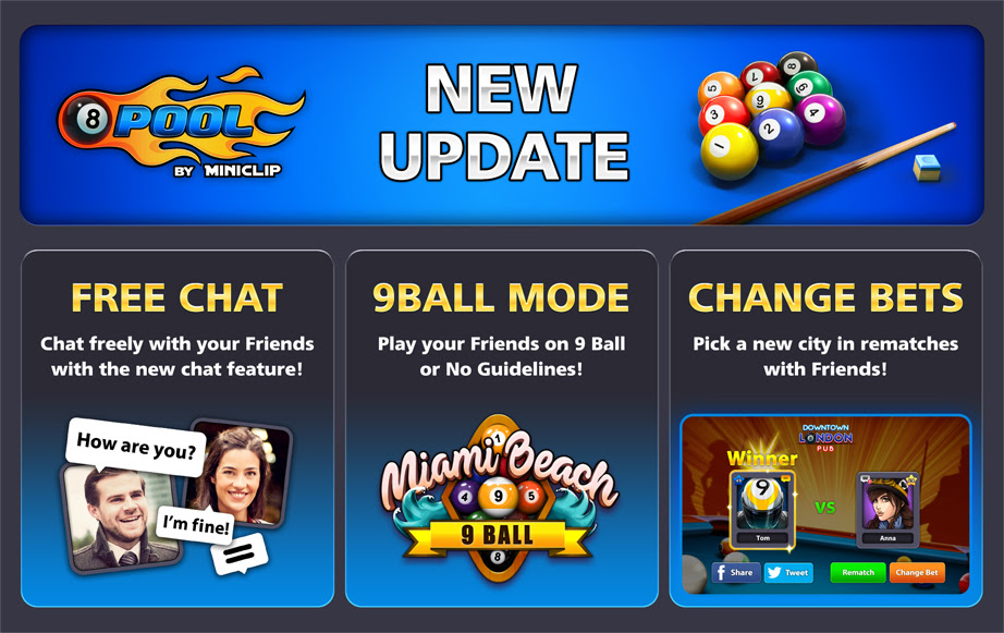 8 Ball Pool New Update: Free Chat, 9 Ball Tournament & More ... -
