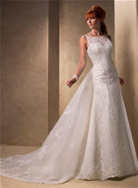 Slim A Line Bateau Neckline Vintage Lace Wedding Dress