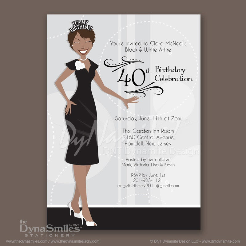 Crowned Adult Woman With Short Hair - Birthday Party Invitations - African American