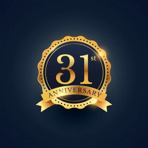 Golden badge for the 31st anniversary Vector   Free Download
