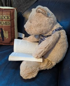 A light brown stuffed bear sits on a blue couch reading a book.