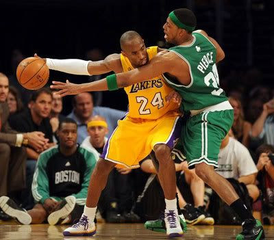 Kobe Bryant takes on Paul Pierce in the 2008 NBA Finals.