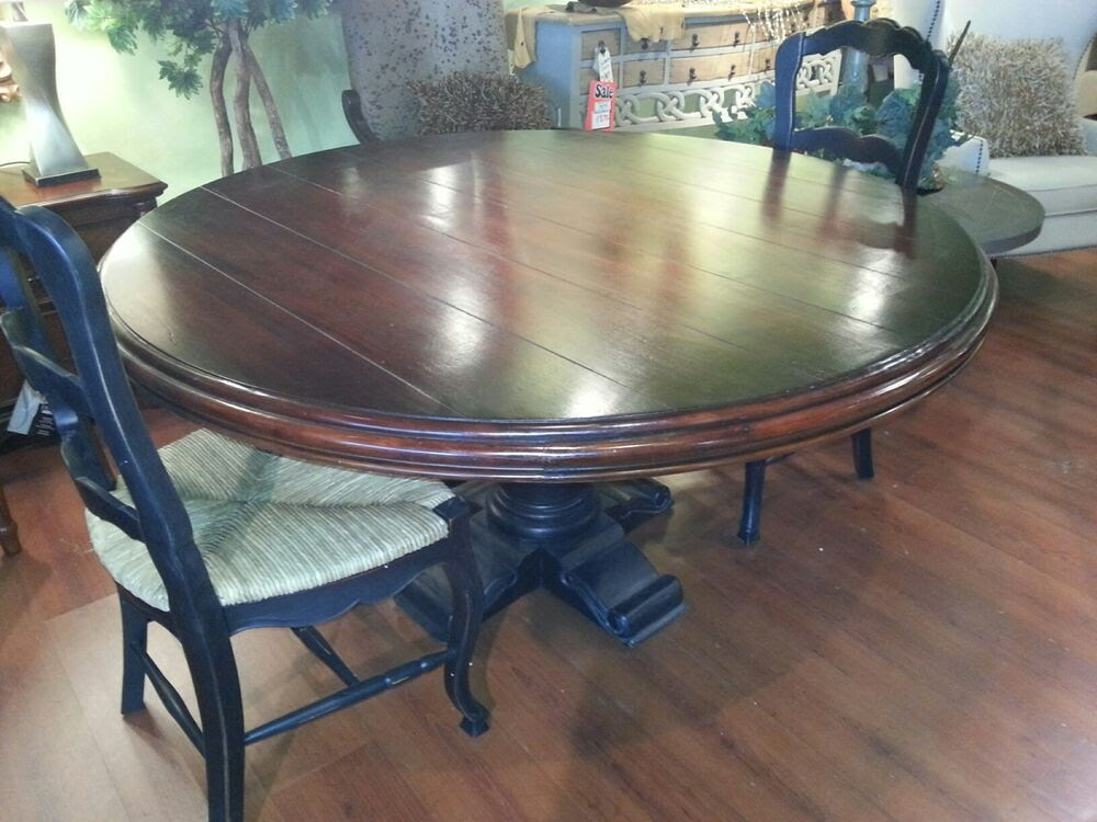60\u0026quot; Round Dining Table w\/6 Rush Bottom Chairs Black Distressed Table Set  eBay