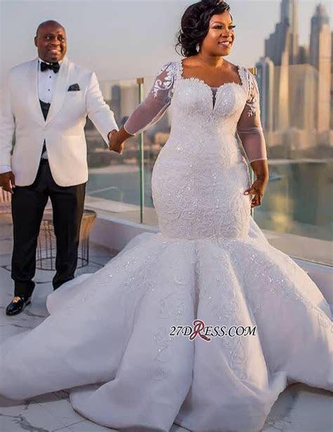 Gorgeous White Mermaid Beads 3/4 length Sleeves Wedding