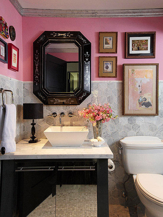 Pink and Gray Powder Room - Eclectic - bathroom - BHG