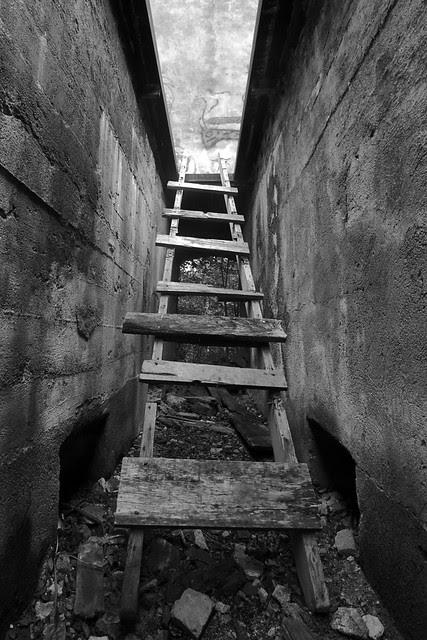 A ladder in a cement corridor.