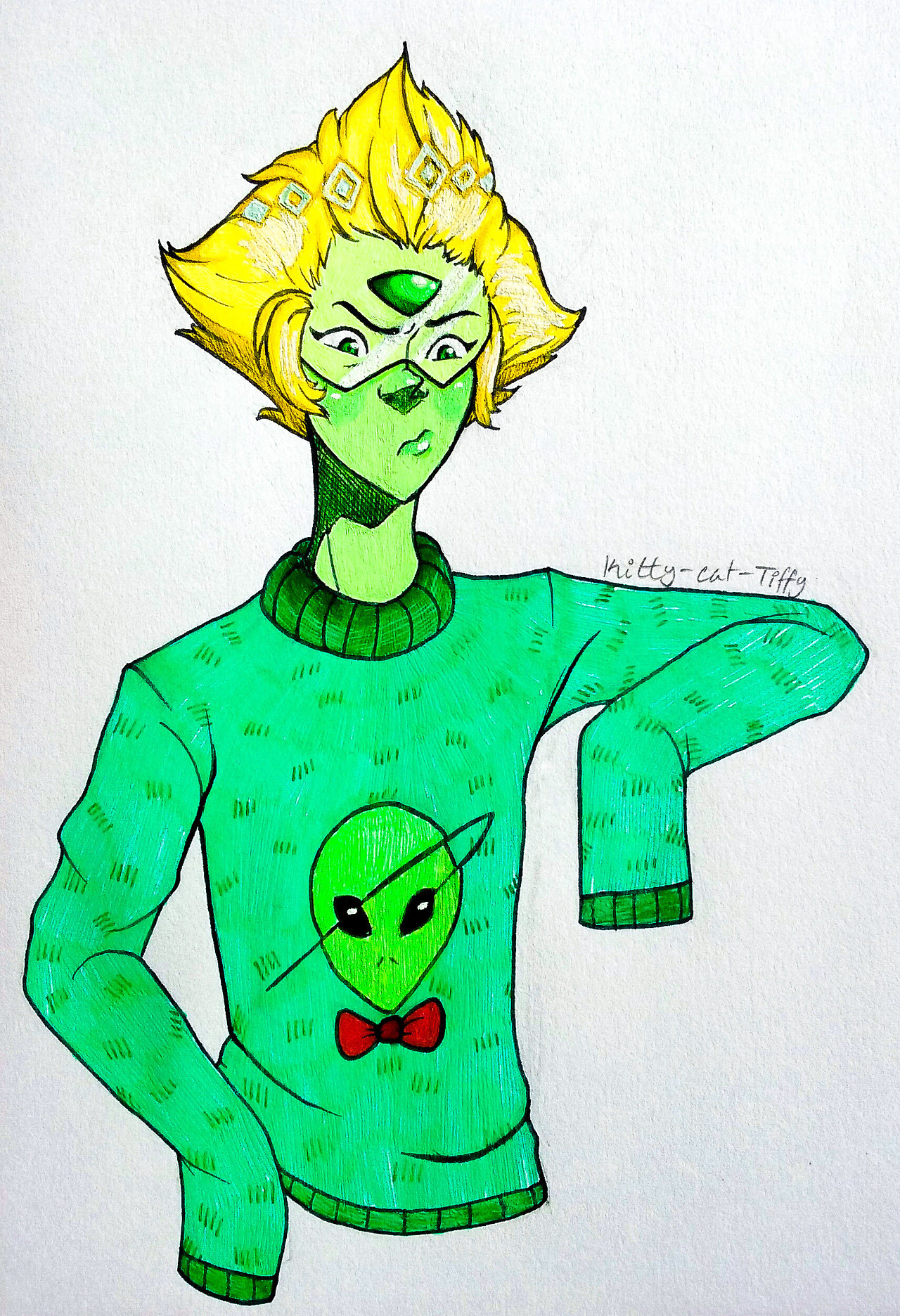 Inktober day 6 - Alien Mean green bean👽