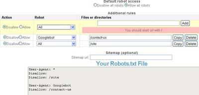 SEObook Robots.txt generator