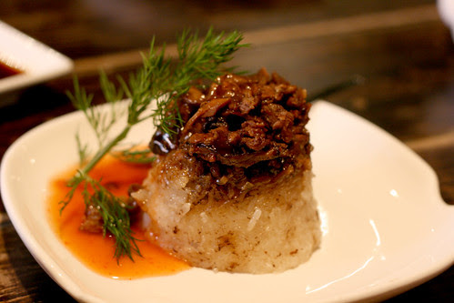 Sticky rice with shredded pork