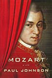 Mozart in red coat behind red curtain