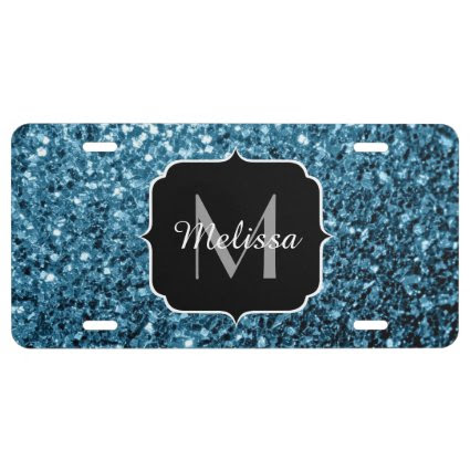 Beautiful Baby blue glitter sparkles Monogram License Plate