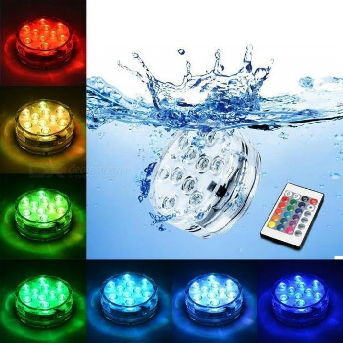 Underwater Submersible Vase 10 Led Remote Control Rgb Candle Light Battery Operated Night Lamp Outdoor Party Pool Decoration Changeable
