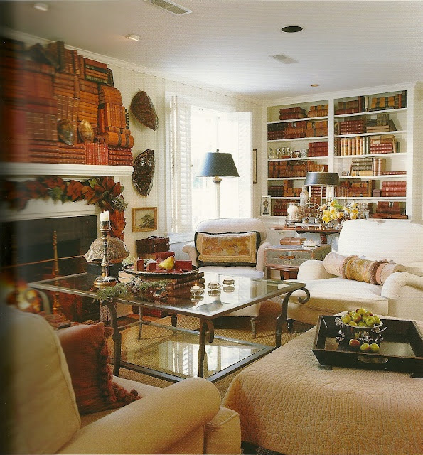 love the books over the mantle--decorating with books