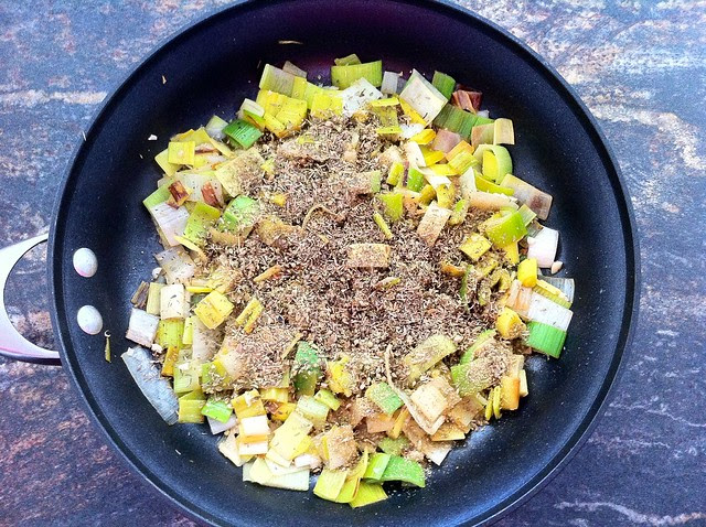 Fennel Seed and Dried Oregano Added to Leeks