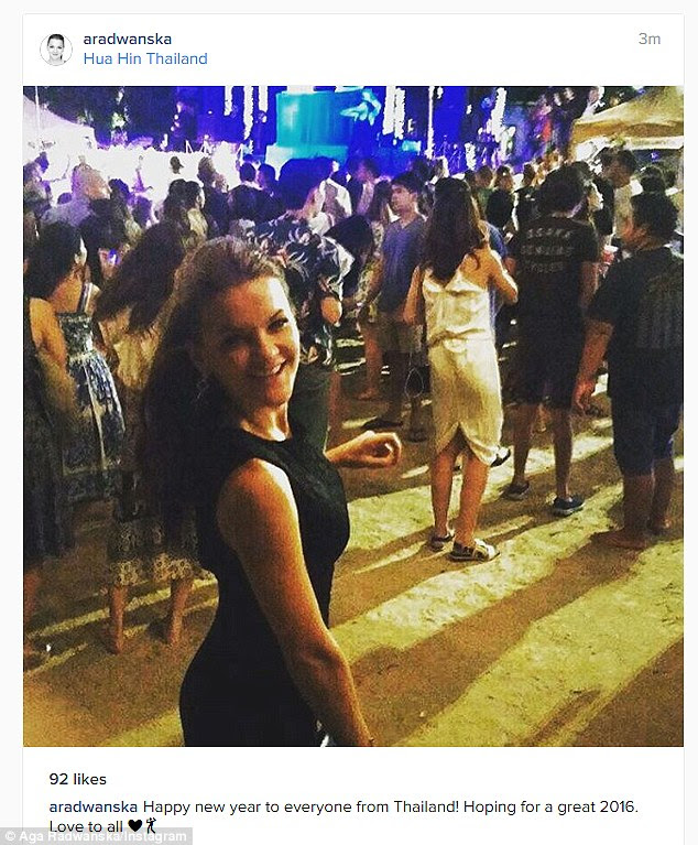 Tennis star Agnieszka Radwanska celebrated the New Year in Thailand