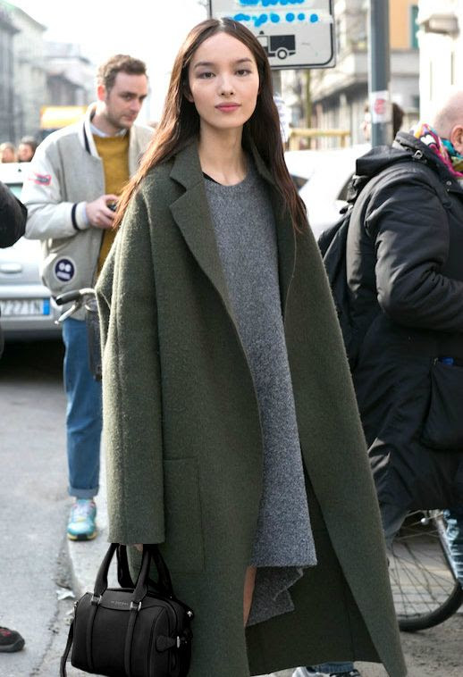 Le Fashion Blog Ways To Wear Green Jacket Coat Fall Winter Street Style Oversized Wool Blend Grey Sweater Dress Via The Impression