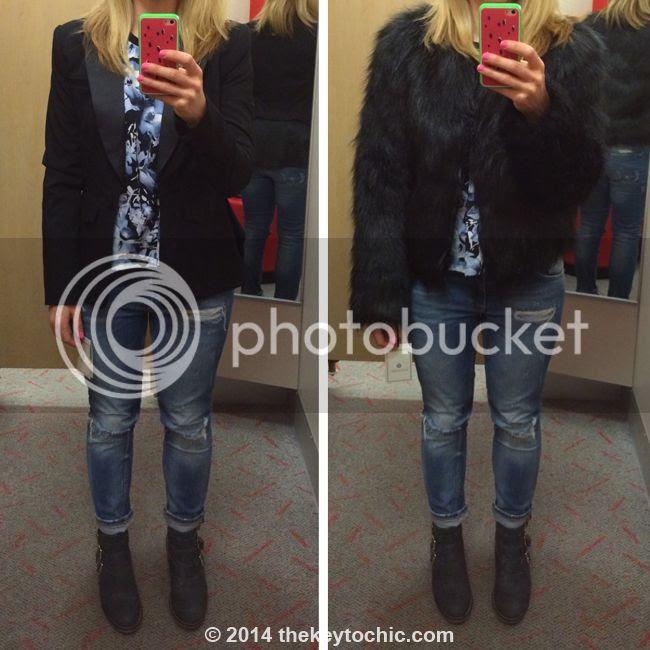 Altuzarra for target black faux fur coat and peplum blazer, Altuzarra for target review
