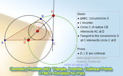 Online Geometry Problem 892: Triangle, 60 degrees, Orthocenter, Circumcenter. GeoGebra, HTML5 Animation for iPad and more tablets