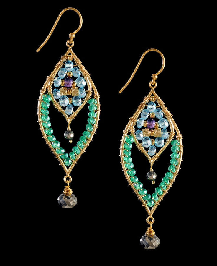 Mashka Stone Lotus Drop Earrings