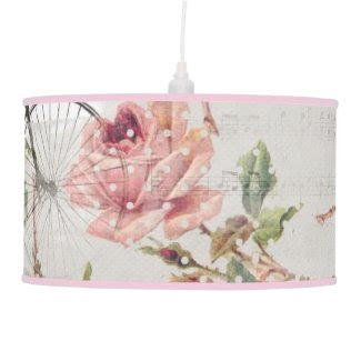 Vintage Bicycle, Music, Pink Roses Table Lamp