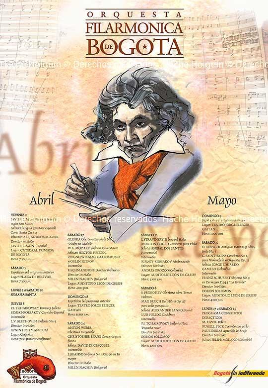 Retrato digital de Beethoven por Hache Holguín