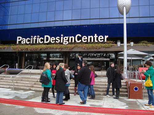 Bloggers outside Pacific Design Center