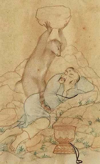 The friendly bear. Persian miniature, 18th c.