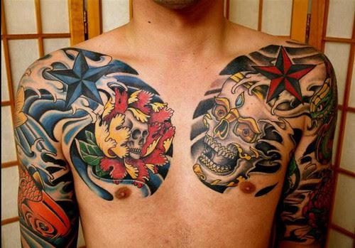 Female Japanese Chest Tattoos