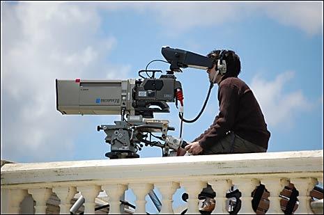 TV cameras captured the arrival