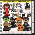 Spooky Village Trick Or Treat Kids Layered Templates - CU