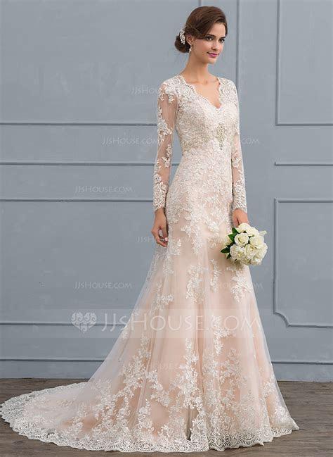 Trumpet/Mermaid V neck Court Train Tulle Lace Wedding